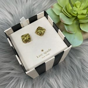 NWT Kate Spade Golden Glitter Stud Earrings